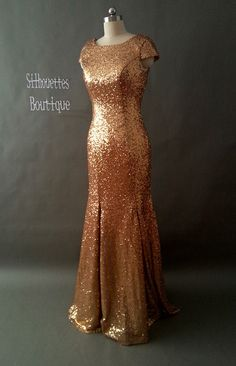 Not entirely sure of ordering via Etsy....but an optin | Cap sleeves champagne gold sequin long prom dress, open back sequin prom dress mermaid, sequin bridesmaid dress, evening dress