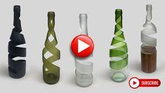 Old Wine Bottles, Recycled Glass Bottles, Wine Bottle Art, Glass Bottle Crafts, Diy Bottle, Cutting Glass Bottles, Bottle Cutting, Cut Bottles, Creations