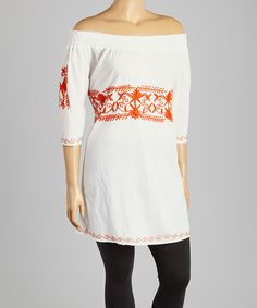 Look what I found on #zulily! White & Red Embroidered Tunic - Plus by Highness NYC #zulilyfinds