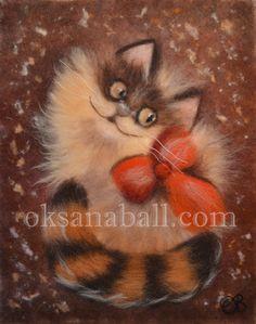 """Wool Painting """"Ginger Cat"""", Wool Art, Cat Painting, Cat Art, Cat Decor, Cat Wall Art"""