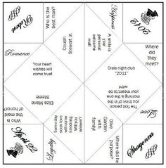 downloadable cootie catcher wedding template | Fortune Teller or ...