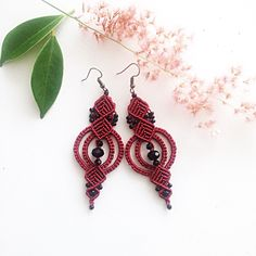 A personal favorite from my Etsy shop https://www.etsy.com/listing/511664186/macrame-earrings-diy-red-macrame