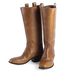 Brown Leather 14 inches High Boots