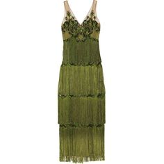 Marchesa Notte Embellished fringed tulle gown (77.450 RUB) ❤ liked on Polyvore featuring dresses, gowns, green, beaded evening gowns, embellished gown, beaded gown, sequined dresses and green ball gown