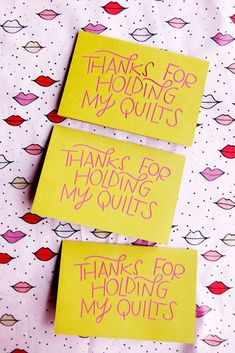 """This quilt greeting card says """"Thanks for holding my quilts"""" and is the perfect Valentine for that supportive person in your life who helps with crafts! Diy Beauty, Beauty Hacks, Thanks Greetings, Glue Sticks, Hold Me, Funny Valentine, Blank Cards, Card Templates, Card Stock"""