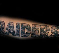 40 Oakland Raiders Tattoos For Men - Football Ink Design Ideas Xoil Tattoos, Sleeve Tattoos, Tattoo Ink, Tattos, Oakland Raiders Logo, Raiders Fans, Outer Forearm Tattoo, Forearm Tattoos, Traditional Tattoo Forearm