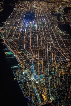 NYC. Manhattan from the air at night