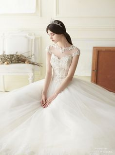 Praise Wedding: This romantic tulle ball gown from Jang Dain Lily En featuring a romantic neckline is fit for a princess. Weeding Dress, Dream Wedding Dresses, Bridal Dresses, Wedding Gowns, Prom Dresses, Bridesmaid Dresses, Tulle Balls, Tulle Ball Gown, Ball Gowns