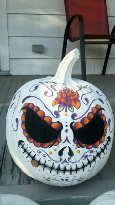 Hand painted Sugar Skull Pumpkin