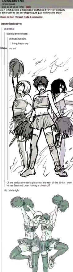 Armin Eren Mikasa and Jean cheerleader AU
