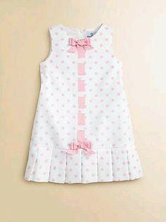 Florence Eiseman - Toddler's & Little Girl's Pique Pleated Polka Dot Dress buttonholes/ribbon Frocks For Girls, Kids Frocks, Little Dresses, Little Girl Dresses, Toddler Dress, Toddler Outfits, Kids Outfits, Baby Dress Design, Baby Frocks Designs