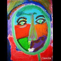 este rostro inspirado en el artista ruso Alexei Von Jawllensky pertenecio al grupo de los expresionistas alemanes el colorido lo realizamos con pinturas al frío tinta china y pasteles de óleo