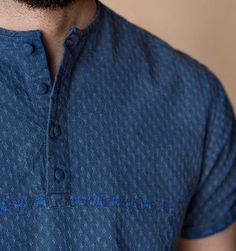 Suggested style : Casual Raw Indigo dobby, men's shirt Collar : Collarless shirt Details : Embroidery on front panel, fabric buttons Model height , chest 39 and is wearing a medium slim fit. Premium Brands, Branded Shirts, Men Online, Dobby, Portal, Casual Shirts, Indigo, Men Sweater, Free Shipping