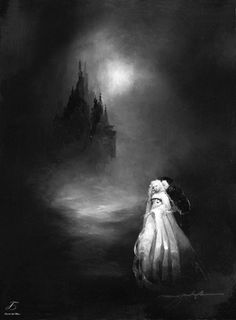"""tales-of-the-night-whisperer: Annabel Lee by Anne Bachelier Oil on Wood 9.5"""" x 7"""" 2012 Edited by Me (Please do not remove credit)"""