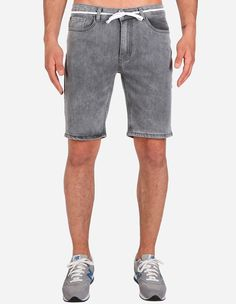 iriedaily - Slim Shot2 Denim Short grey bleach wash