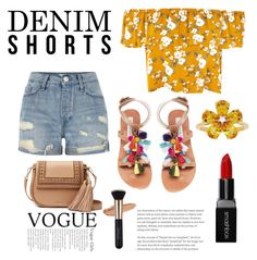 """Denim Shorts"" by fluffy-bunny4 ❤ liked on Polyvore featuring River Island, Steve Madden, Kate Spade, David Tutera and Smashbox"