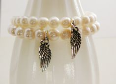 1 Freshwater Pearl Bracelet Cream White sterling Angel by DiBA, $35.00