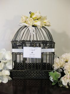 "beautiful shaby chic bird cages | Shabby Chic Black and Gold 13"" Bird Cage Decorative Bird Cage Small ..."