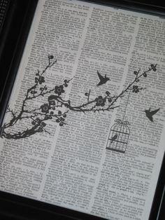 Bird Print Bird Art Silhouette Bird Bird Branch Vintage Dictionary Wall Art Print Black Bird Cage Image Upcycle on Etsy, $8.98 AUD