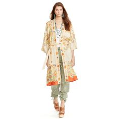 Floral Silk Duster - Long-Sleeve  Tops & Polos - RalphLauren.com