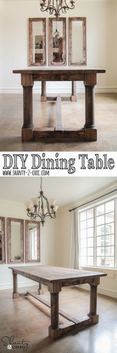 Love this DIY Dining Table! Free plans and tutorial at and do mirror look behind table www.shanty-2-chic.com