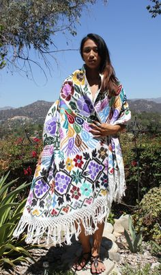 WOW Exquisite Detailed Hand Embroidered Vintage Guatemalan Shawl Textile on Etsy, $125.00
