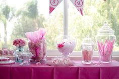 Pink Dessert Bar- this is what I was taking the idea for the desset bar from. Just light pink instead of the dark