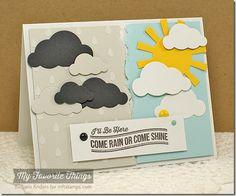 Blue Skies Ahead, Cloud Cover-Up Die-namics, Sun Moon & Stars Die-namics, Raindrops Stencil - Barbara Anders #mftstamps