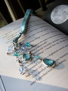 Bookmark Ocean Blue Beaded Ribbon Book Thong