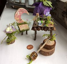 Fairy Desk with Items as shown in photo! Find Olive Nature Folklore under the following search terms: fairy garden kit miniatures for fairy gardens fairy garden house outdoor fairy house miniature fairies garden fairies miniature fairy figurine Miniature Instruments Medieval