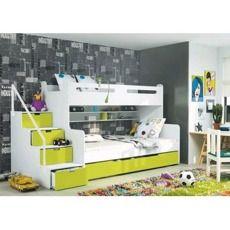 Patrová postel Miami pro 3 děti - zelená - obrázek