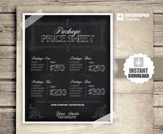 Photography Price List - Session Packages Pricing Sheet - Chalkboard Style Packages Prices - INSTANT DOWNLOAD - Photography Marketing Form on Etsy, $12.00
