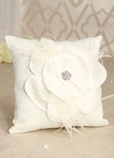 somerset ring pillow available in white or ivory