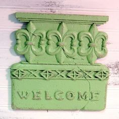 Country Cottage Green Painted Welcome Sign Shabby Cottage Green Welcome Plaque #HomeDecor #ShabbyChic