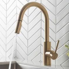 Gold Kitchen Faucet, Kitchen Shower, Stainless Steel Kitchen, Kitchen Cabinets, Gold Kitchen Hardware, Brass Faucet, Kitchen Fixtures, Kitchen Faucets Pull Down, Copper Kitchen