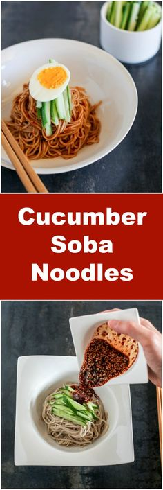 Spicy Cold Soba Noodles with Cucumber. It's a perfect way to beat the summer heat! | MyKoreanKitchen.com