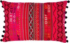 Pink and Red Bohemian Pom Pom Pillow Cover Red Pillows, Throw Pillows, Lifestyle Shop, Living Styles, Home Decor Trends, Pillow Covers, Cushions, Bohemian, Chic
