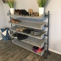 "Our first Weathered Grey Industrial Shoe Rack. 5 tier 48"".   I love how this turned out so much!! ♥️ I can't wait to see a white one!!  Two Moose Design"