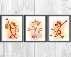 I offer you digital files of high quality dpi. All my works are done in a watercolor style and a Mushu Mulan, Disney Princess Room, Disney Bedrooms, Nursery Room, Watercolor Print, Print Poster, Aud, Wall Decor, Rainbow