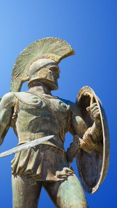 Ancient History Greece -                                                              King Leonidas Statue Sparta Greece