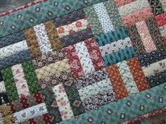 Scrappy Quilted Table Runner Rail Fence via Etsy