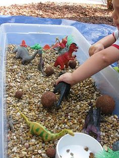 "Dino sensory bin: dinosaurs, aquarium gravel or sand (try cloud sand) or lentils or beans, styro balls for bigger boulders (maybe just bigger rocks), paintbrush or popcicle sticks for digging.  Add dino eggs (plastic or use sand dough), dino ""bones"""
