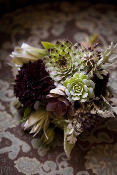 Offbeat succulent and purple fall wedding bouquet | http://www.weddingpartyapp.com/blog/2014/09/18/fresh-fall-wedding-bouquets-romantic-bride/