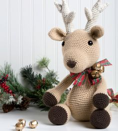 Bucky the Reindeer - DIY stuffed animal - holiday decor - crochet a reindeer - free crochet pattern