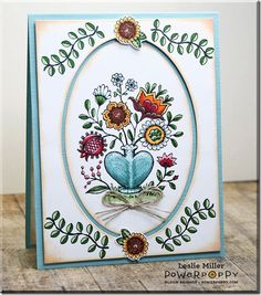 Folk Heart stamp set by Power Poppy, card design by Leslie Miller.
