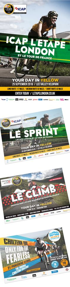 Human Race Cycling Sportive Creative for the following events:  ICAP  L'Etape London, Dragon Ride L'Etape Wales by le Tour de France and the Chiltern 100 Sportive