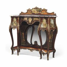 A FRENCH ORMOLU-MOUNTED KINGWOOD, TULIPWOOD AND VERNIS MARTIN CONSOLE -  LATE 19TH/EARLY 20TH CENTURY