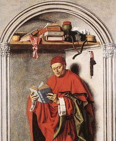 Oto jakiś święty z Francji z 1440 roku. Na półce, pod słoikiem (z dżemem lub smalcem) leży sobie tak po prostu, najprawdziwsza WALIZKA.- medieval suitcase (on shelf), France 1440 r.