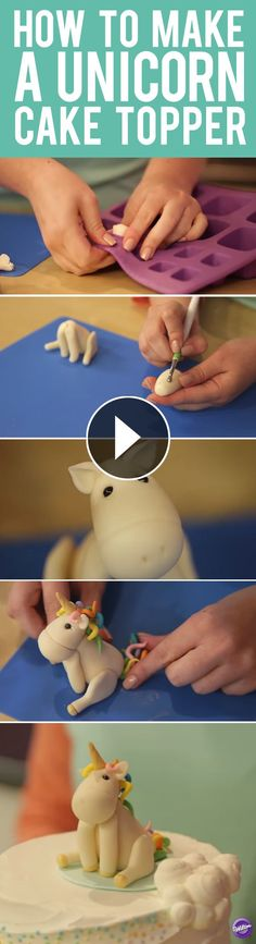 How to Make a Unicorn Cake Topper - Unicorn figurine made of Wilton Shape-N-Amaze Edible Dough is an adorable topper for your next party cake. In this video, we will show you step-by-step instructions on how to make your own unicorn figurine. Cake Decorating Techniques, Cake Decorating Tutorials, How To Make A Unicorn Cake, Unicorn Foods, Unicorn Cake Topper, Unicorn Cakes, Fondant Animals, Fondant Toppers, Edible Cake Toppers