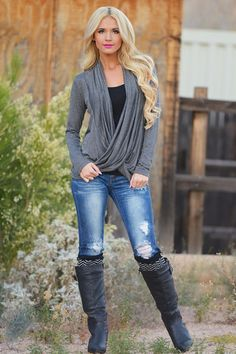Cross Over Sweater - Charcoal
